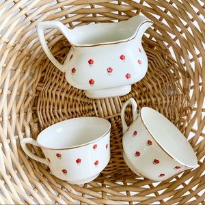 Other - Red floral tea cup set boho
